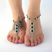 pearl-barefoot-sandals, bridesmaid-sandals, wedding-sandals, blue, barefoot-jewelry, soleless-sandals, beach, ivory, hemp, foot-jewelry