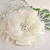 Ivory Beaded Hair Flower
