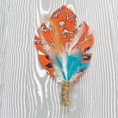 Persimmon Turquoise and Cream Feather & Fabric Leaf Boutonniere