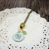 Personalized Mint monogram pendant necklace