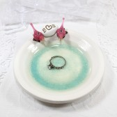 Personalized Love birds ceramic ring bearer dish with initials