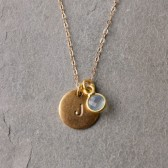 Personalized Gold Tag and Mini Gemstone Necklace