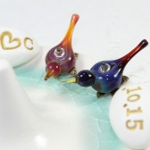 Personalized love birds ring holder with initials and date