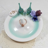 Love birds ring holder with custom bouquet