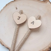 Wooden Heart Wedding Pen, Personalized, wedding pen set