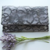 Petite Amelia Clutch - Gunmetal Lace and Silver Satin