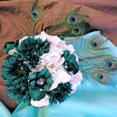 Teal & White Wedding, Peacock silk bridal bouquet