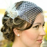 One of a Kind Hand Beaded Vintage Style White Bandeau Birdcage Veil With Ostrich Feathers