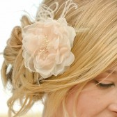 Classic Peach and Ivory Handmade Flower Hairpiece