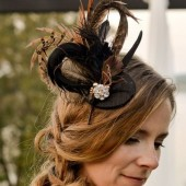 One of a Kind Black Feather Fascinator