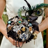 Large Black and Jewel Tone Vintage Brooch Bouquet