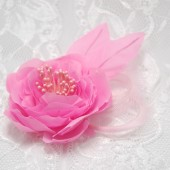 Pink bridal hair flower, Silk fabric flower hair clip, pink wedding hair accessories, Flower girl hair clip