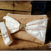 Embroidered Bow Wristlet