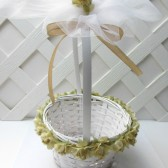 Champagne Rose Flower Girl Basket