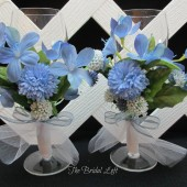 Cornflower Blue Wedding Toasting Glasses