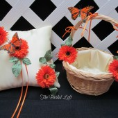 Orange Butterfly Ring Pillow and Flower Girl Basket Set