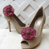 Burgundy Flower Shoe Clips