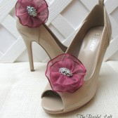 Burgundy Rhinestone Flower Shoe Clips