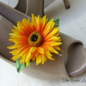 Yellow Sunflower Shoe Flower Clips