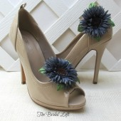 Blue Sunflower Flower Shoe Clips