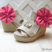 Hot Pink Polka Dot Shoe Clips