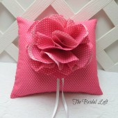 Hot Pink Polka Dot Wedding Ring Pillow
