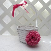 Pink Gingham Flower Girl Basket