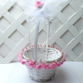 Pink Rose Flower Girl Basket