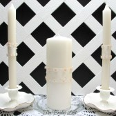 Pink and Ivory Unity Candle Set