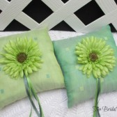 Lime Green Emerald Green Wedding Ring Bearer Pillow