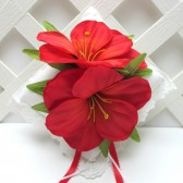 Red Hibiscus Flower Wedding Ring Pillow
