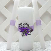 Purple and White Wedding Unity Candle Set