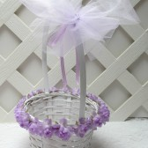 Lavender Purple Flower Girl Basket