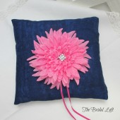Pink Flower Denim Ring Pillow