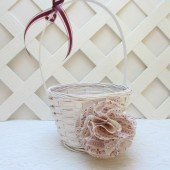 Burgundy Flower Girl Basket