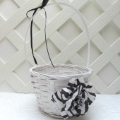 Black and White Zebra Flower Girl Basket