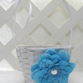 Turquoise Flower Girl Basket