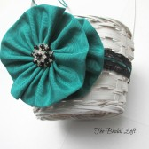 Black and Turquoise Teal Flower Girl Basket