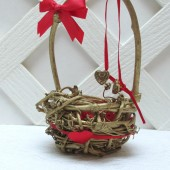 Red and Gold Wedding Ring Nest Basket