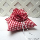 Red Gingham Wedding Ring Bearer Pillow