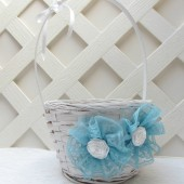 Blue Lace Flower Girl Basket