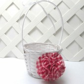 Red Gingham Flower Girl Basket