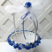 Royal Blue Rose Flower Girl Basket, Cobalt Blue Wedding Basket