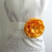 Orange Satin Flower Dress Sash