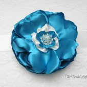 Aqua Satin Flower Dress Sash