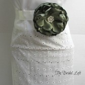 Olive Green Satin Flower Dress Sash