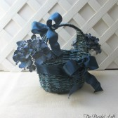 Blue and Green Flower Girl Wedding Basket