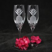 Personalized Pineapple Champagne Flutes, destination wedding