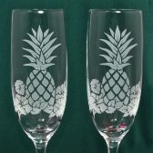 Pineapple Hibiscus Champagne Flutes, Personalized