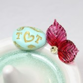 Fuchsia Butterfly ring holder, personalized with gold initials